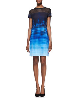 "Elie Tahari Cassie Mesh-Top ""Venue"" on Canvas-Print Dress"