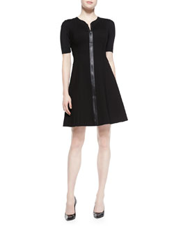 Elie Tahari Nina Short-Sleeve Zip-Front Dress