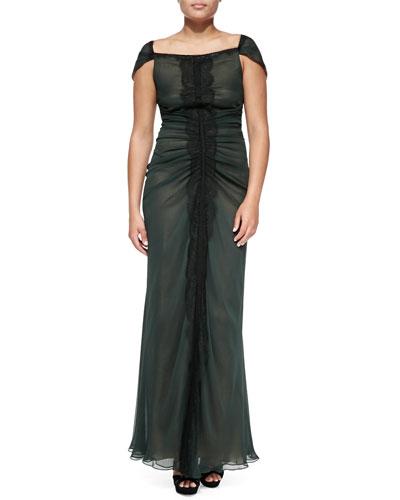 J. Mendel Lace-Paneled Gown