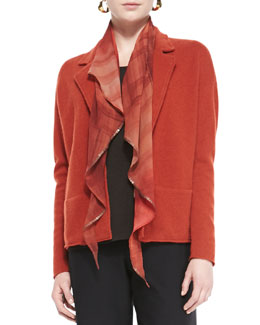 Eileen Fisher Oxidized Printed Silk Scarf, Mahogany