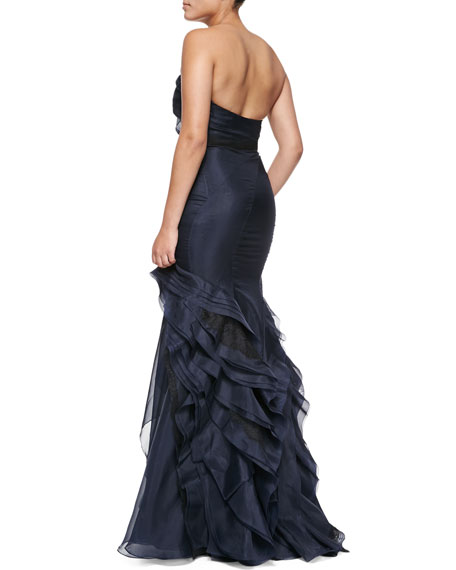 Strapless Ruffled Organza Gown