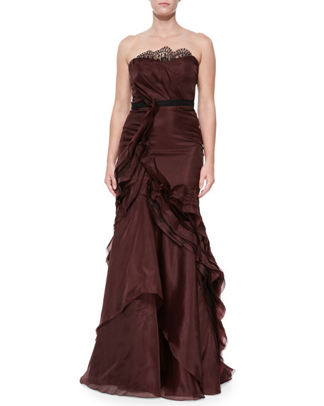 Strapless Ruffled Organza Gown, Port