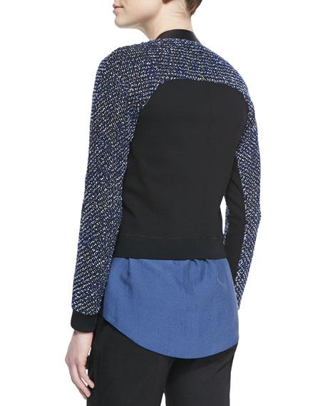 Sandie Cropped Zip-Front Tweed Jacket