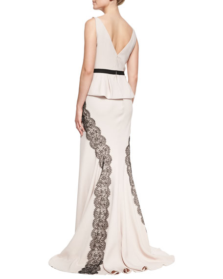 Sleeveless Gown with Lace Applique, Blush