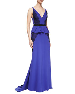 J. Mendel Sleeveless Gown with Lace Applique, Iris
