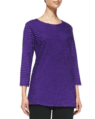 Bias-Ruffled Knit Tunic, Purple, Petite