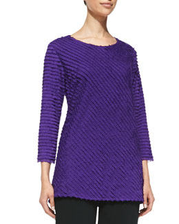 Caroline Rose Bias-Ruffled Knit Tunic, Purple
