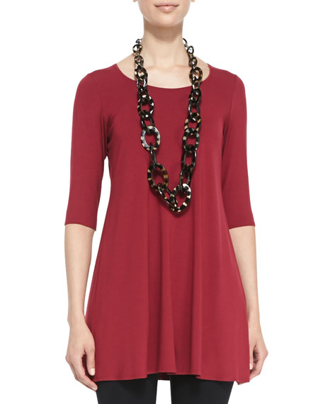 Half-Sleeve Silk Tunic