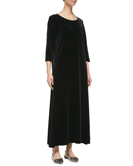Joan Vass 3/4-Sleeve Velour Long Dress, Black, Petite