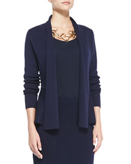Eileen Fisher Silk-Cotton Interlock Peplum Jacket