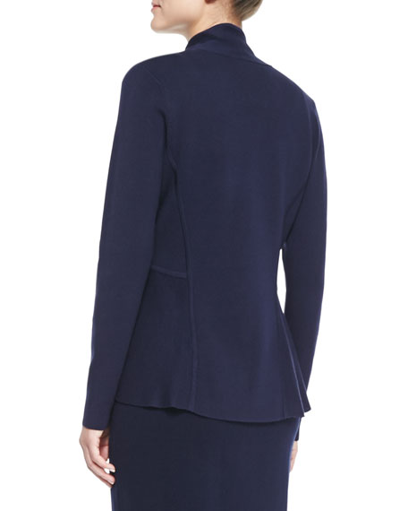 Silk-Cotton Interlock Peplum Jacket, Petite