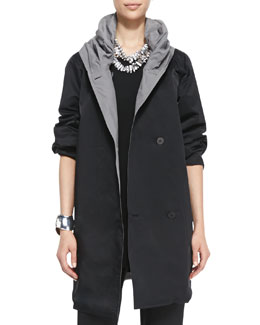 Eileen Fisher Reversible Hooded Rain Coat