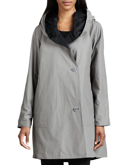 Reversible Hooded Rain Coat, Petite