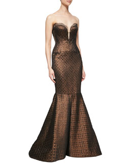 J. Mendel Bustier Mermaid Gown, Bronze