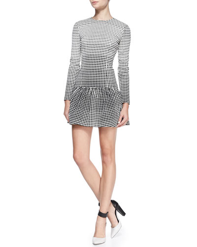 Raoul Delaney Windowpane-Jacquard Peplum Dress