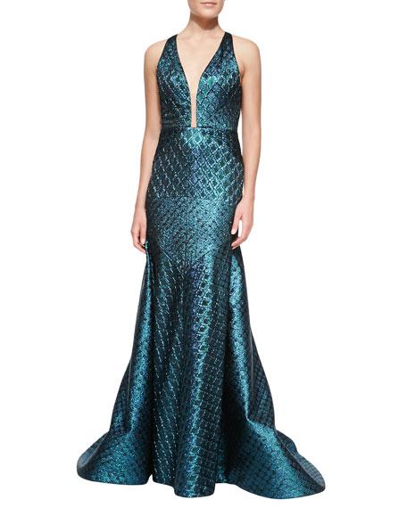 Brocade V-Neck Gown