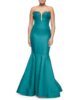 J. Mendel Strapless Bustier Mermaid Gown, Emerald