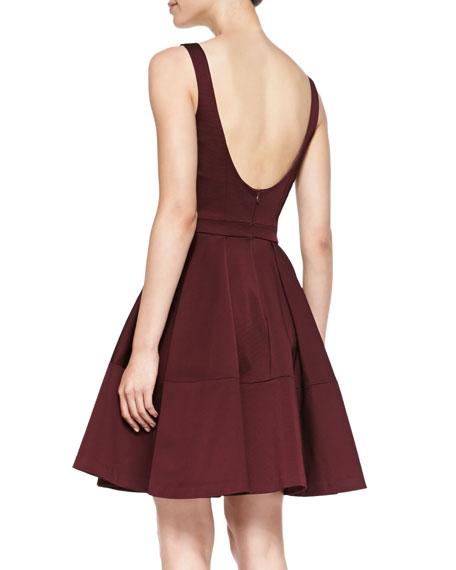 Sleeveless Full-Skirt  Scoop-Back Dress