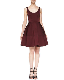 ZAC Zac Posen Sleeveless Full-Skirt  Scoop-Back Dress