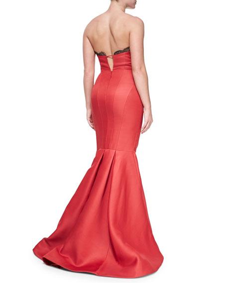 Strapless Bustier Mermaid Gown, Scarlet