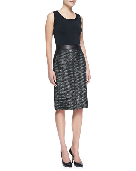 J. Mendel Leather & Tweed Pencil Skirt, Forest/Multi