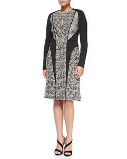J. Mendel Long-Sleeve Tweed Dress with Lace