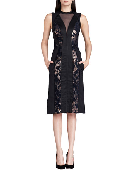 J. Mendel Paneled Metallic Illusion Dress, Black/Rose Gold