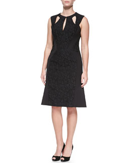J. Mendel Cutout A-Line Dress with Jersey Inserts