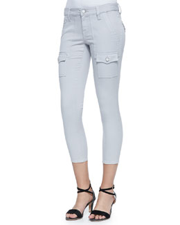 Joie So Real Cropped Stretch-Twill Pants, Light Smoke