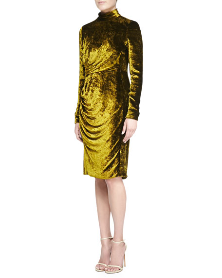 J. Mendel Velvet Turtleneck Dress, Moss