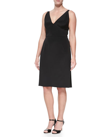 Sleeveless Dress with Pleated Back, Black