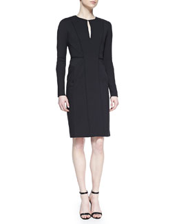 J. Mendel Long-Sleeve Fitted Dress, Black