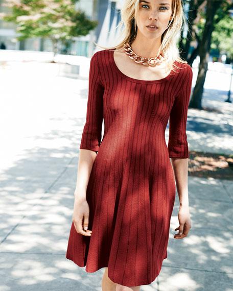 Twirl Half-Sleeve Knit Dress, Petite