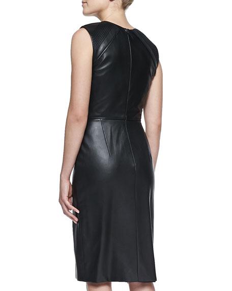 Crewneck Leather Dress, Black