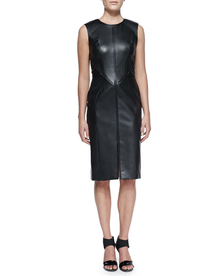 J. Mendel Crewneck Leather Dress, Black