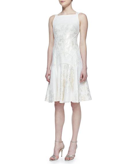 A-Line Metallic Jacquard Dress, Ivory/Gold