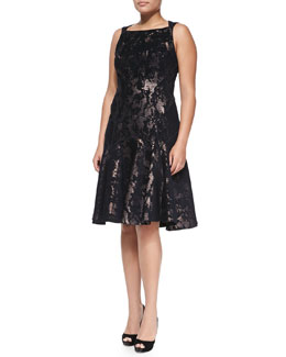 J. Mendel A-Line Metallic Jacquard Dress