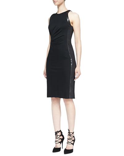 J. Mendel Leather-Panel Ruched Dress