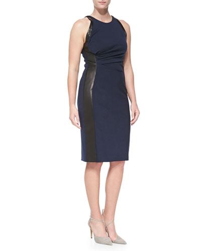 J. Mendel Leather-Panel Ruched Dress, Navy/Black