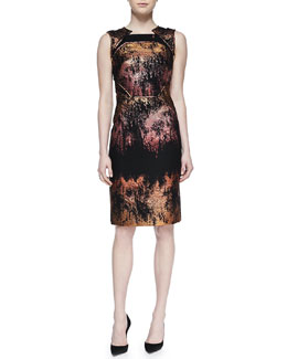 J. Mendel Metallic Jacquard Sheath Dress, Copper/Multi