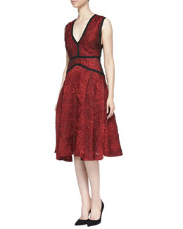 J. Mendel Sleeveless A-line Dress with Bodice Trim
