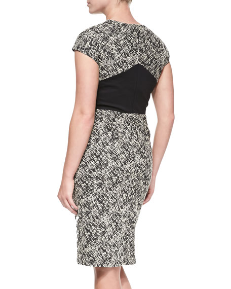 Cap-Sleeve Tweed Dress