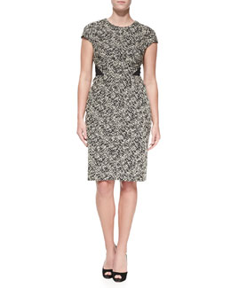J. Mendel Cap-Sleeve Tweed Dress
