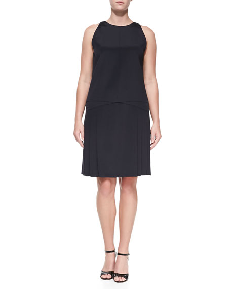 Sleeveless Dropped-Waist Dress, Navy