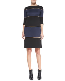Melissa Masse Ponte Striped Knit Dress