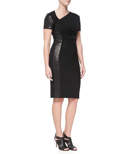 J. Mendel Asymmetric Sheath Dress with Leather Panel