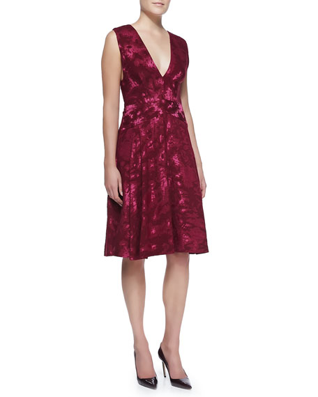 J. Mendel Sleeveless V-Neck Jacquard Dress