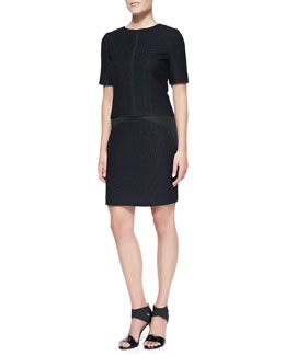 J. Mendel Short-Sleeve Drop-Waist Tweed Dress