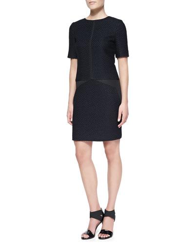 J. Mendel Short-Sleeve Drop-Waist Tweed Dress