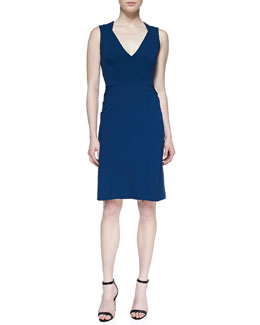 J. Mendel Sleeveless V-Neck Sheath Dress, Royal